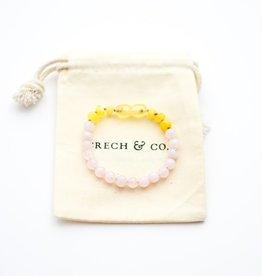 Grech & Co Baltic Amber kinder armband/ enkelbandje  | rose quartz 15 cm