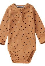 Bodysuit rib | dots carmel/black