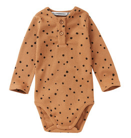 Bodysuit rib | dots carmel/black