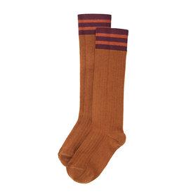 Mingo Knee socks rib | stripes light terracotta/plum/caramel