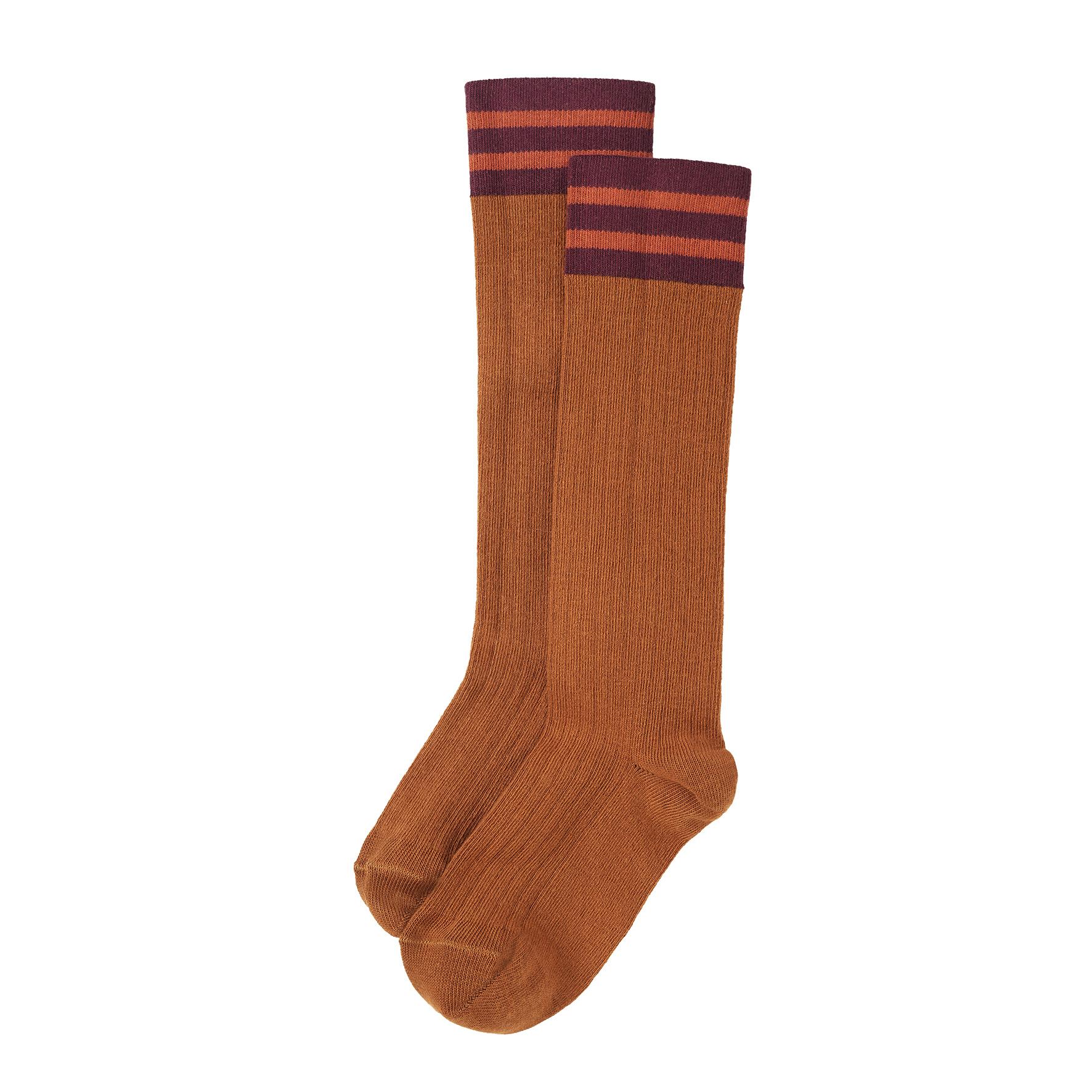 Mingo Knee socks rib   stripes light terracotta/plum/caramel