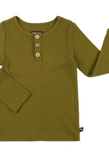 CarlijnQ Basics longsleeve with 3 buttons | green