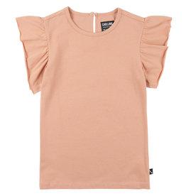 CarlijnQ Basics ruffled short sleeve top | pink