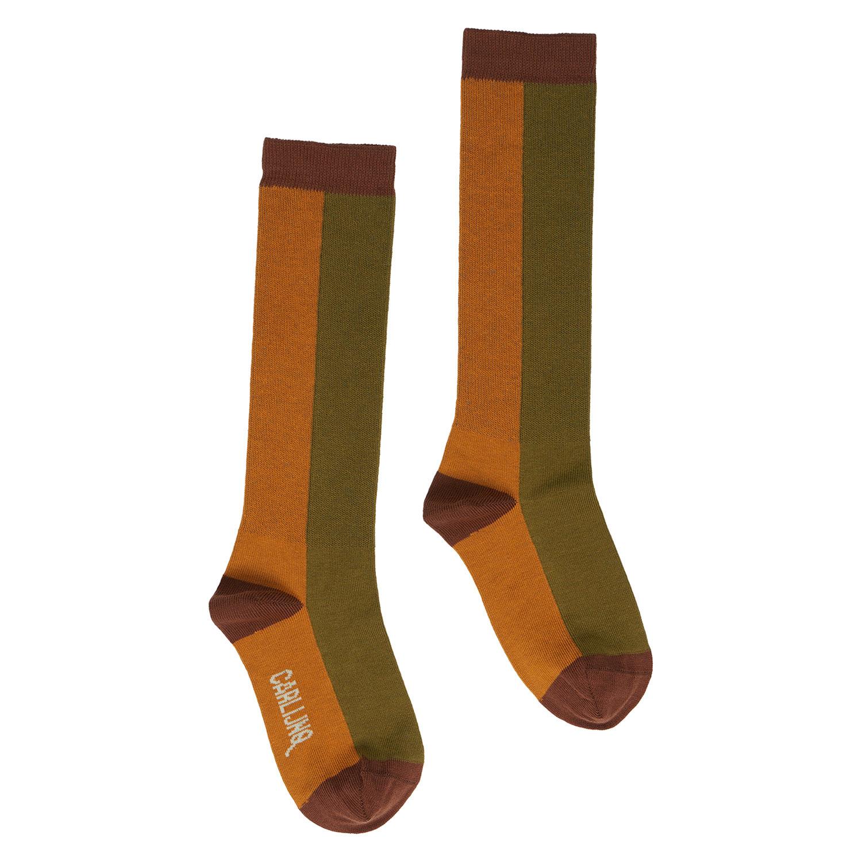 CarlijnQ Knee socks | pumpkin/green