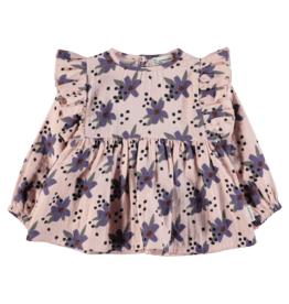 piupiuchick girls shirt with frill | pale pink / flowers