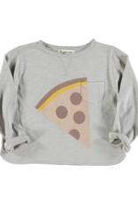 piupiuchick Longsleeve t-shirt |light grey pizza print