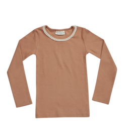 Blossom kids Longsleeve rib with lace | deep toffee