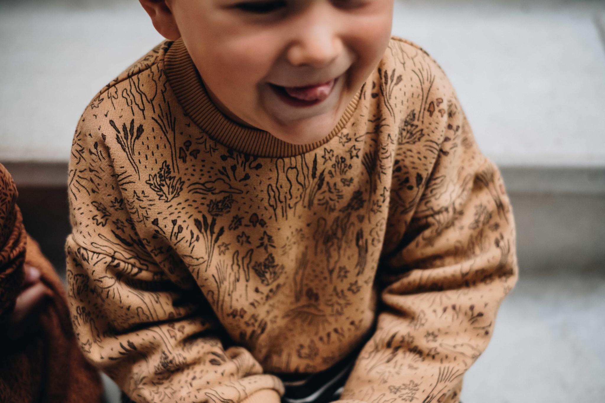 Blossom kids Sweater autumn forest | almond