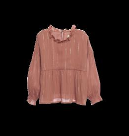 Wander & Wonder Ruffle blouse | tan lurex
