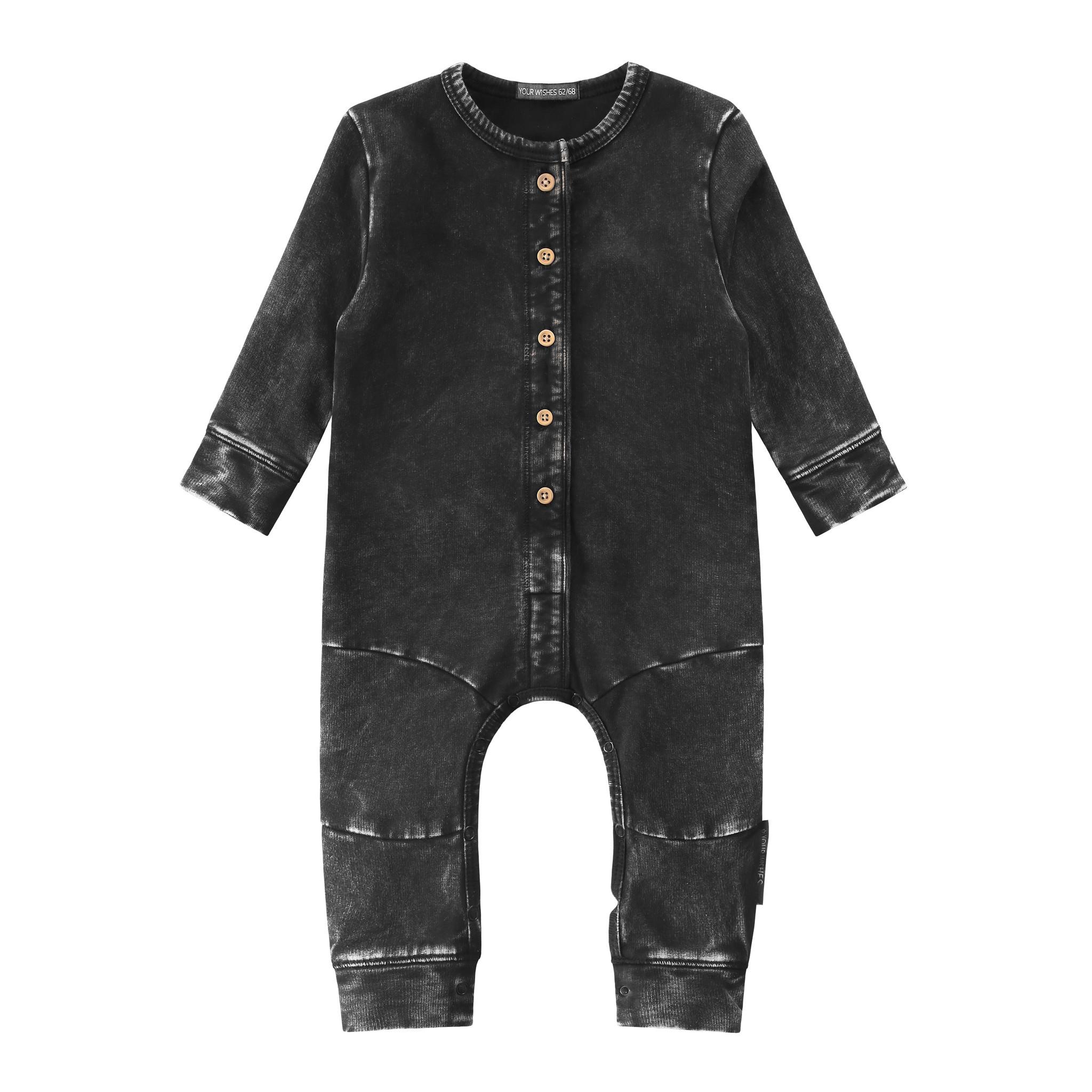 Your Wishes Stonewash seam onesie | charcoal