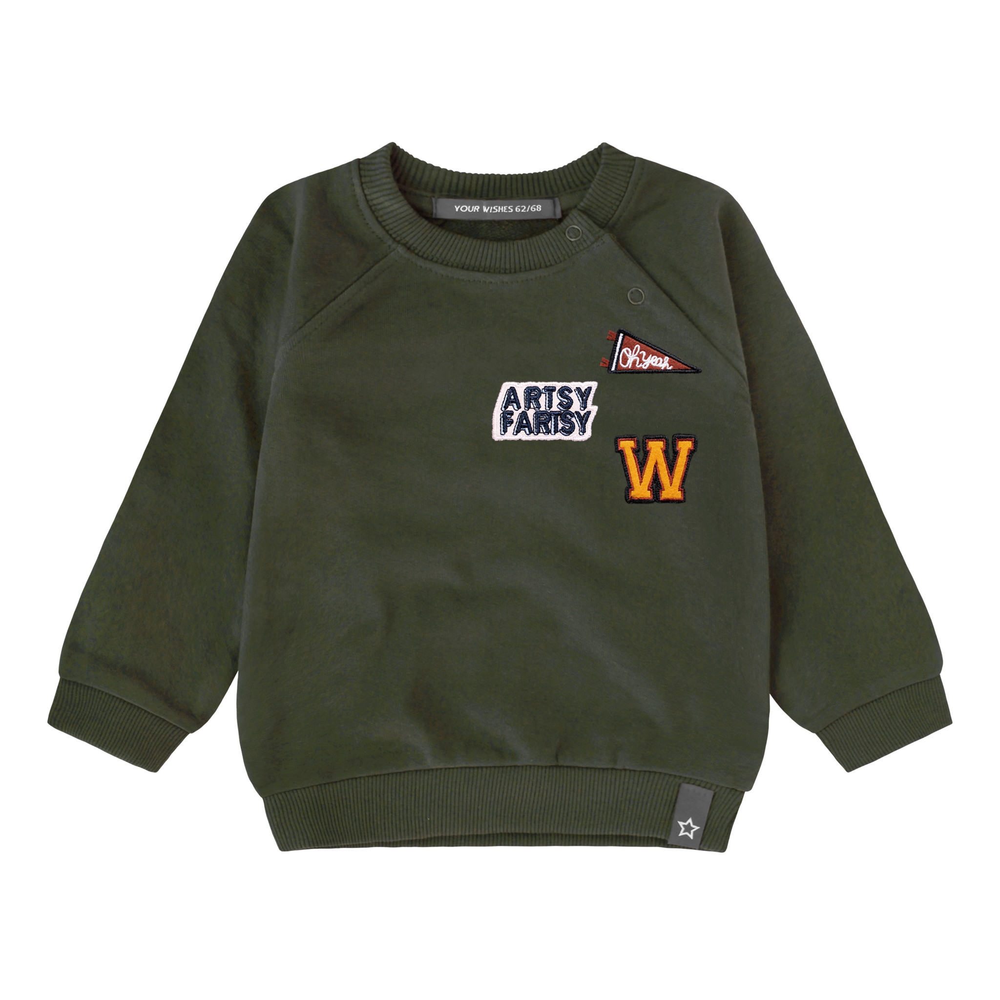 Your Wishes Varsity patch sweater   desk green