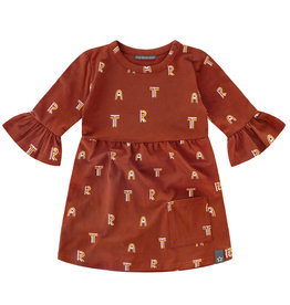 Your Wishes Art ruffle dress | rust