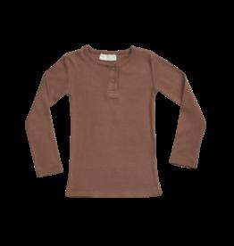 Blossom kids Longsleeve shirt henley soft rib | smoked hazelnut