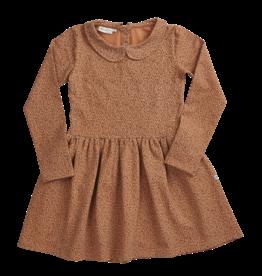Blossom kids Peterpan dress longsleeve, leave drops | caramel fudge