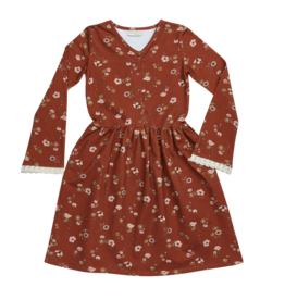 Blossom kids Maxi dress, festive floral with flaired sleeves & lace | dusty terra