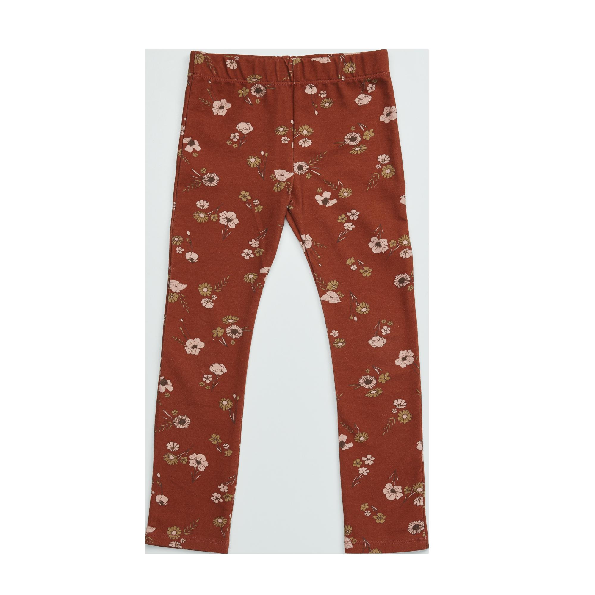 Blossom kids Legging printed, festive floral | dusty terra