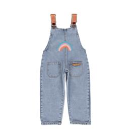 piupiuchick Dungarees light blue denim jeans rainbow print