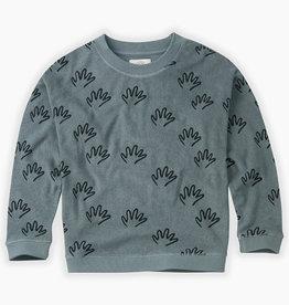 Sproet & Sprout Sweatshirt happy hands AOP | Stone blue