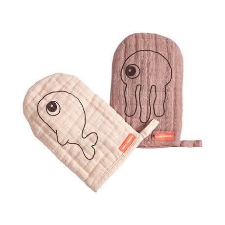 Done by Deer Wash cloth 2-pack Sea friends Powder