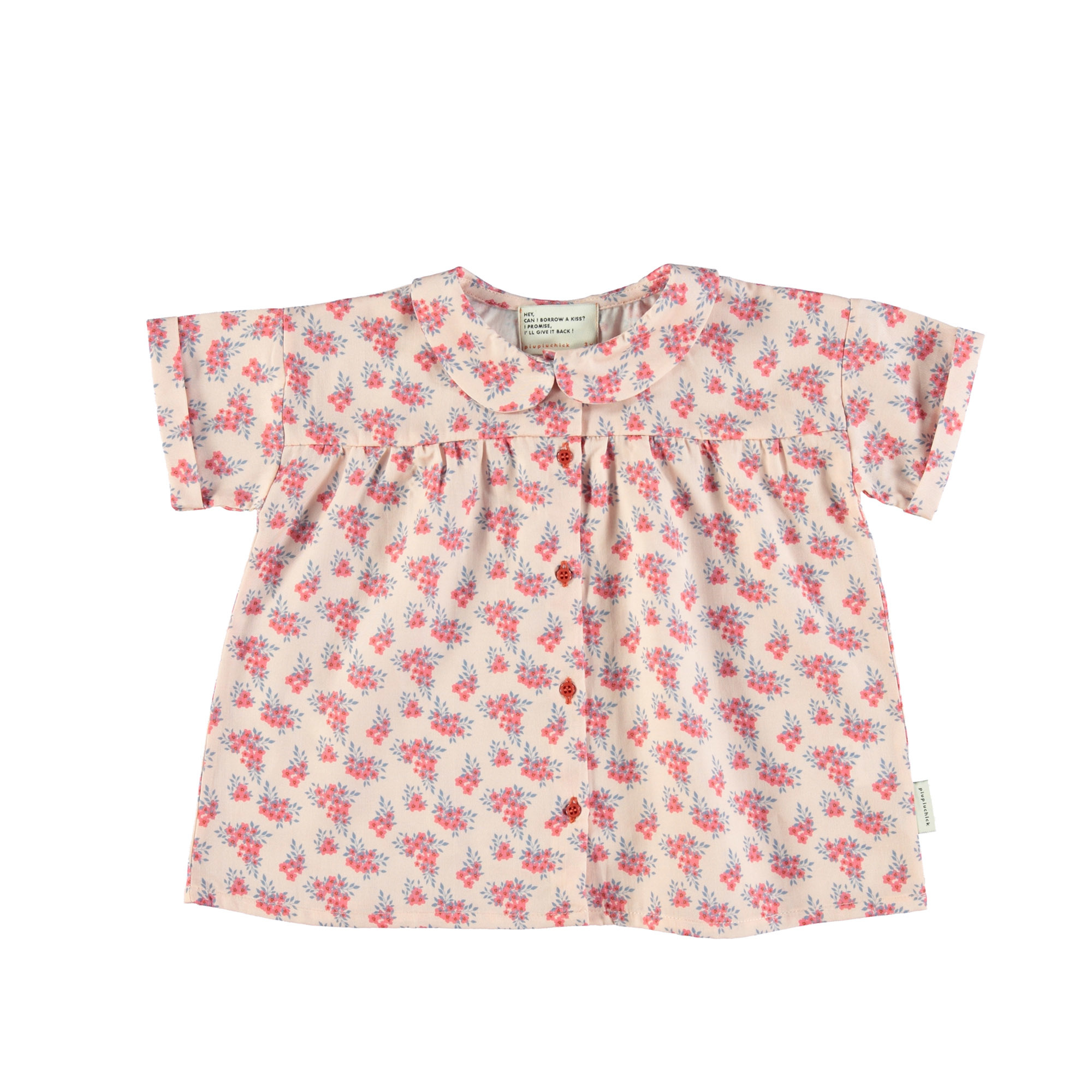 piupiuchick Peter pan shirt | pale pink with flowers