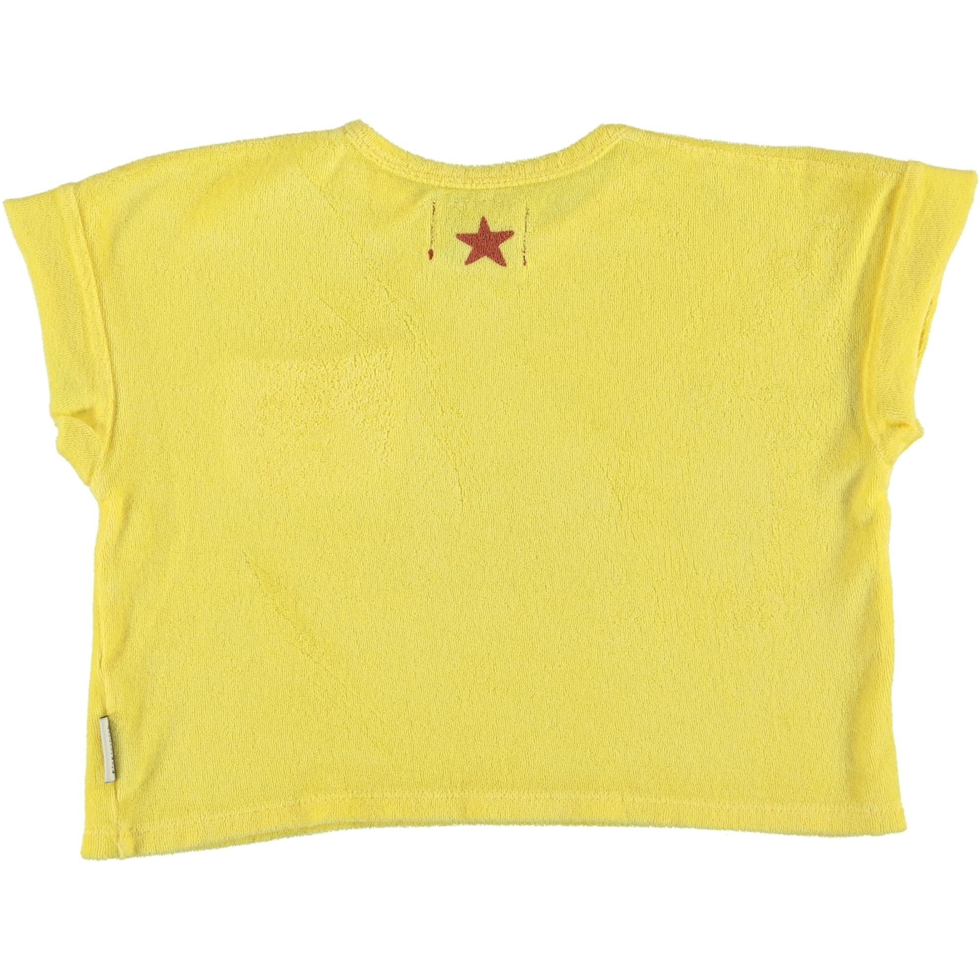 piupiuchick T-shirt yellow | garnet & black print