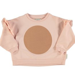 piupiuchick Sweater with frills | pale pink with nut print