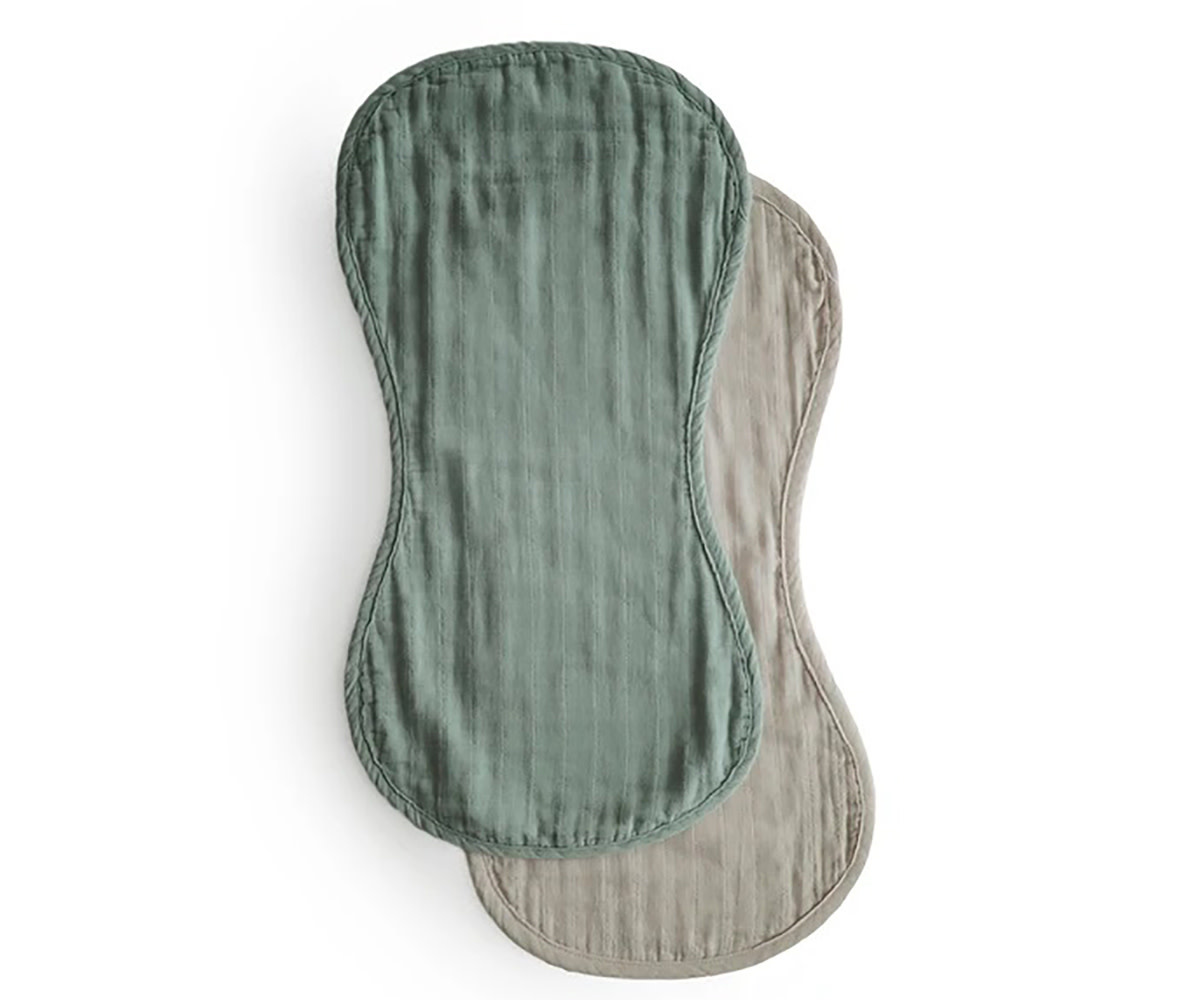 Mushie Burb cloth | Roman green/ Fog