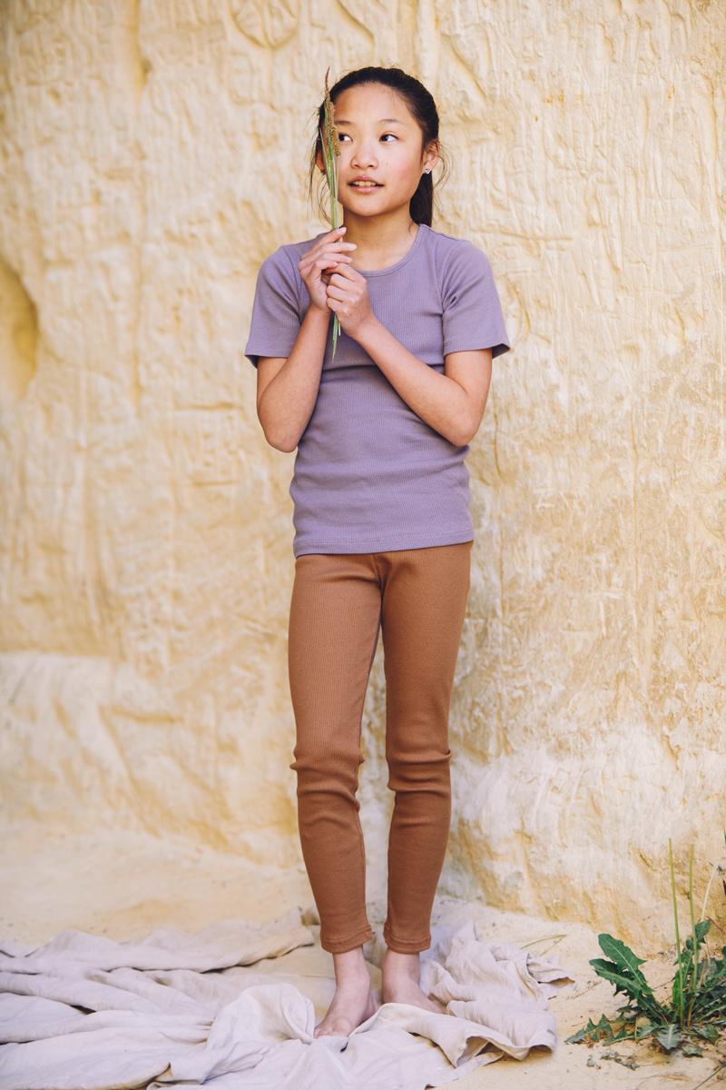 Mingo Rib Top Short Sleeve Lavender