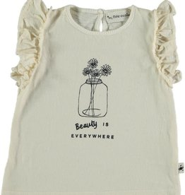 My Little Cozmo Organic flame ruffled t-shirt | Ivory