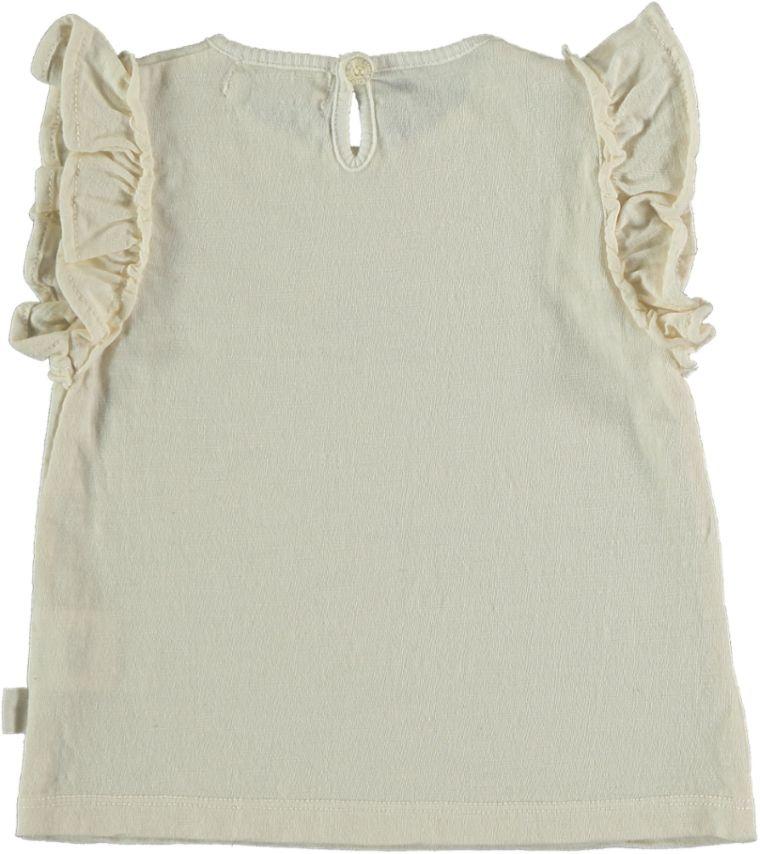 My Little Cozmo Organic flame ruffled t-shirt | Ivory