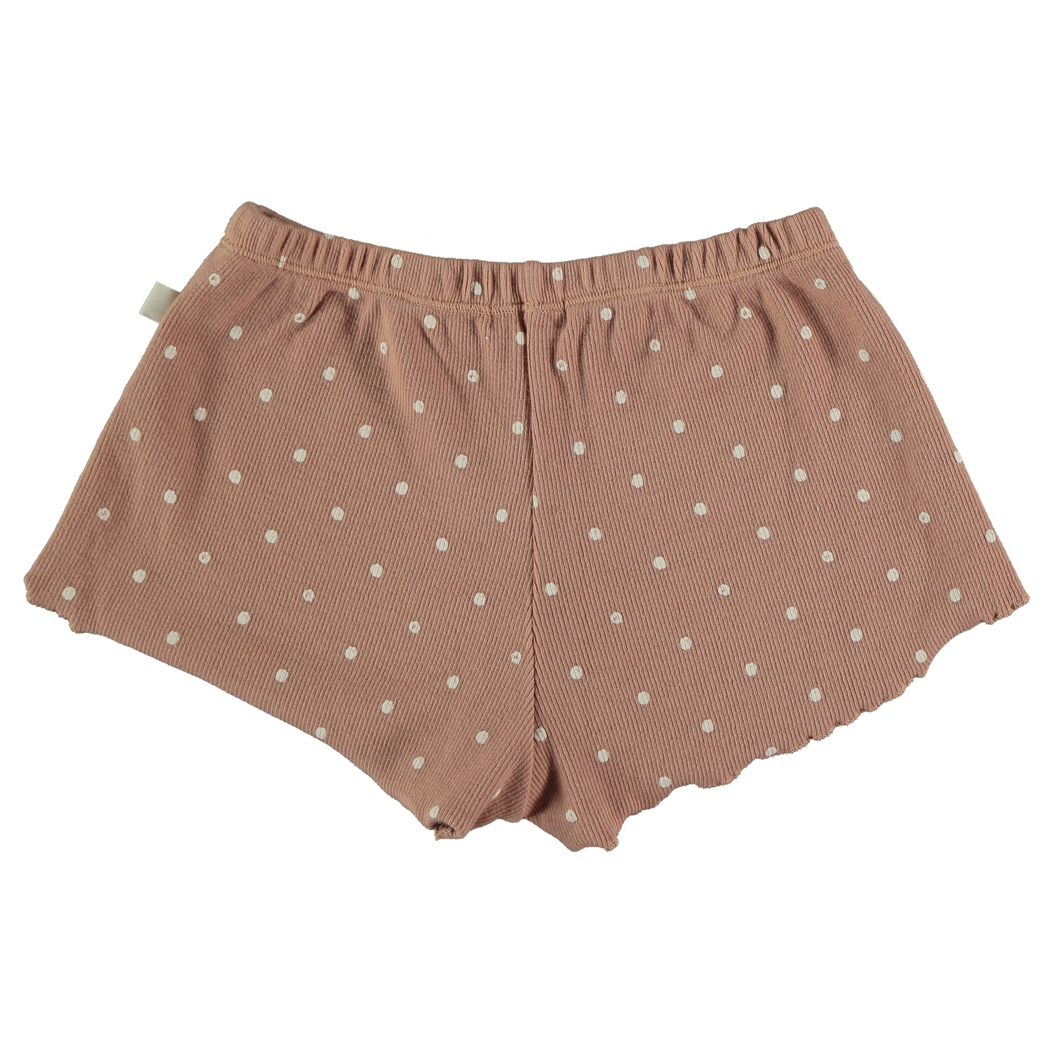 My Little Cozmo Organic cotton dotted shorts | Terra cotta
