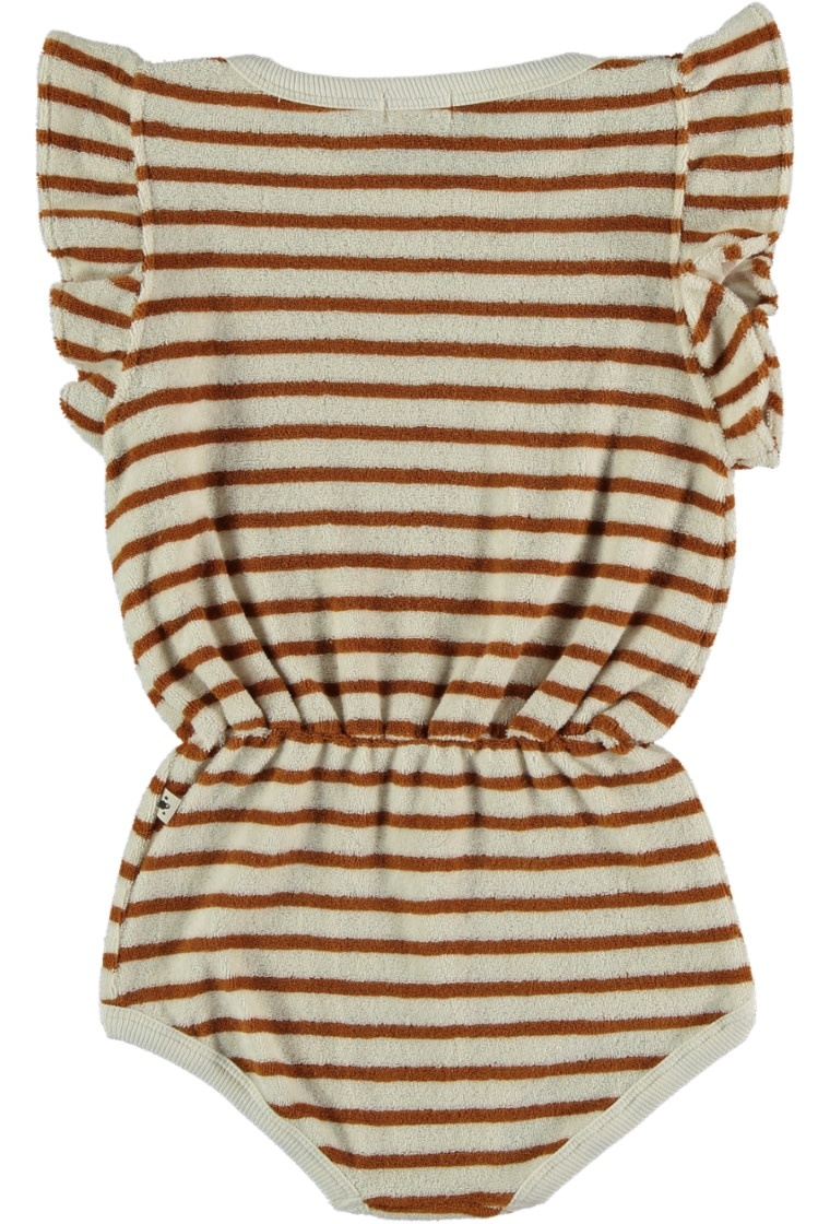 My Little Cozmo Organic cotton toweling romper | peanut