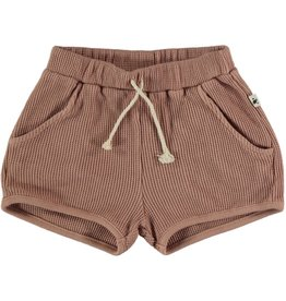 My Little Cozmo Organic cotton waffles shorts | Terra cotta