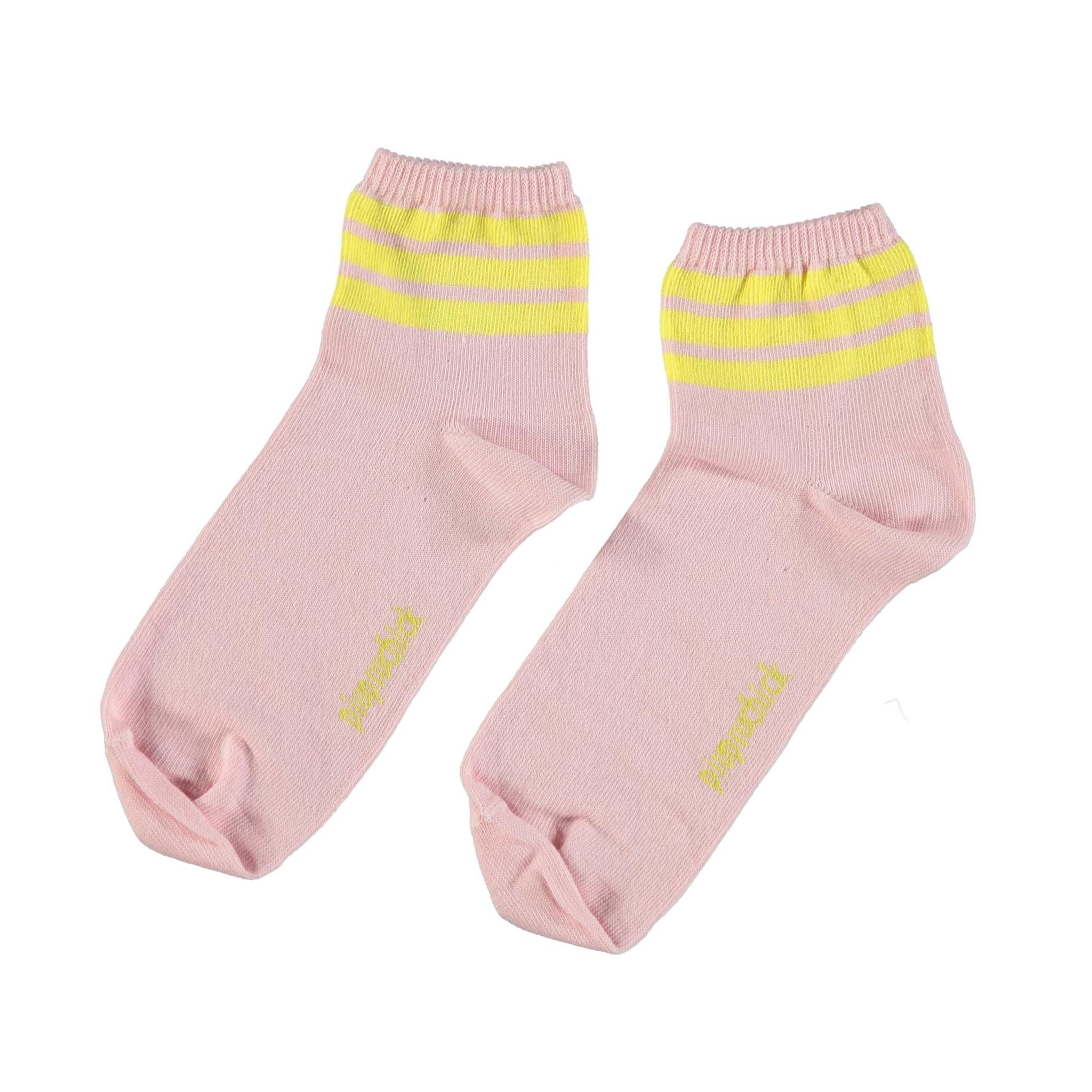 piupiuchick socks | pink w/ yellow stripes