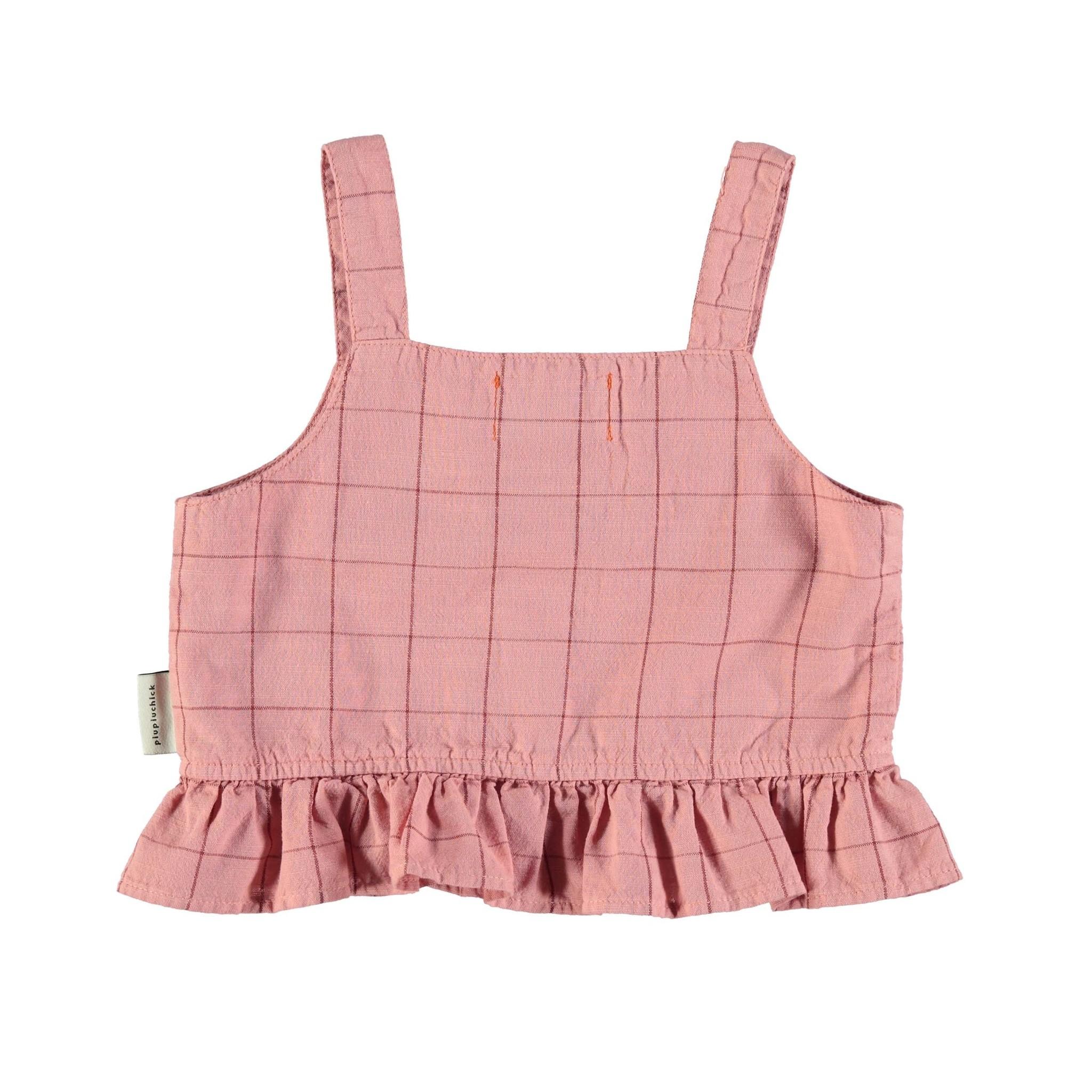 piupiuchick top   pink & garnet checkered