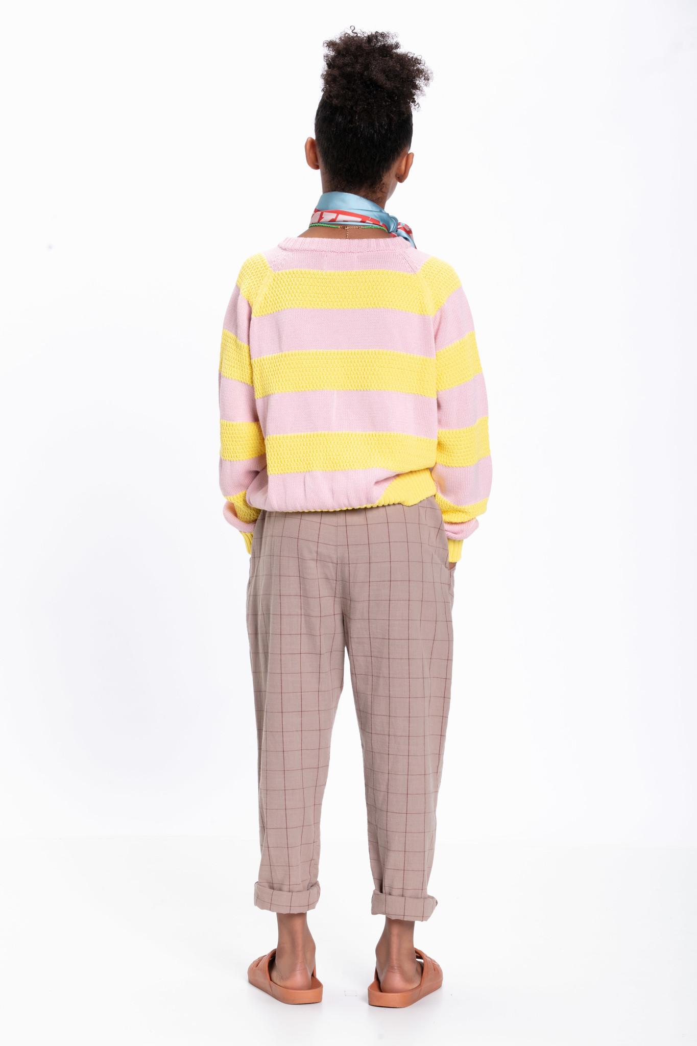 piupiuchick knitted sweater | pink & yellow stripes