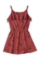 Sproet & Sprout Dress ruffle print Cherry red