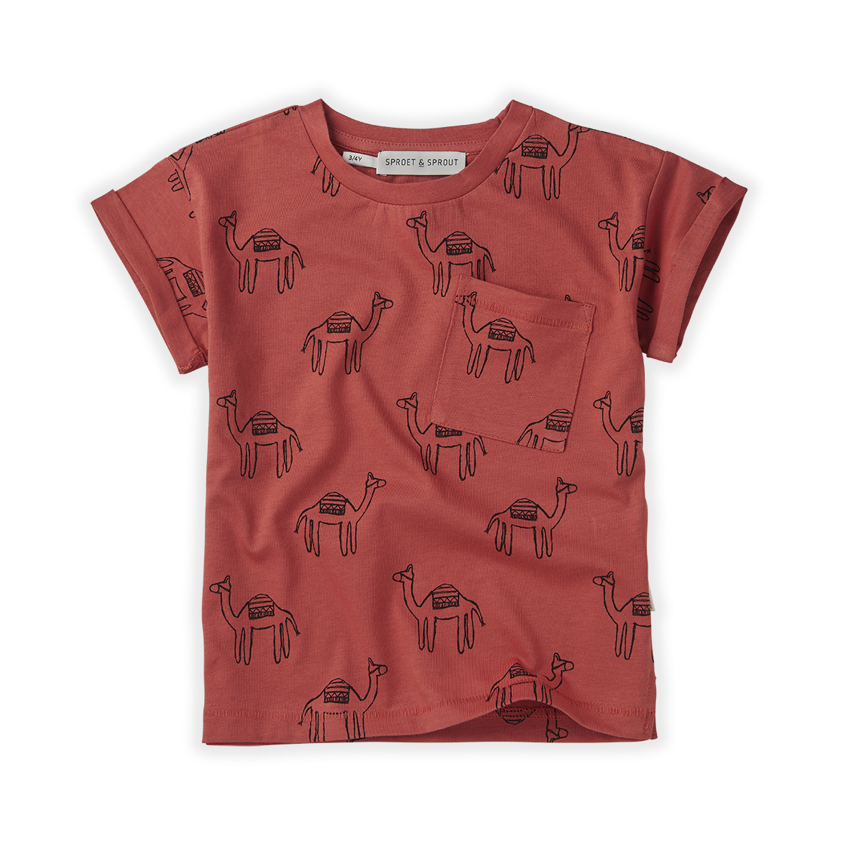Sproet & Sprout T-shirt print Camel Cherry red