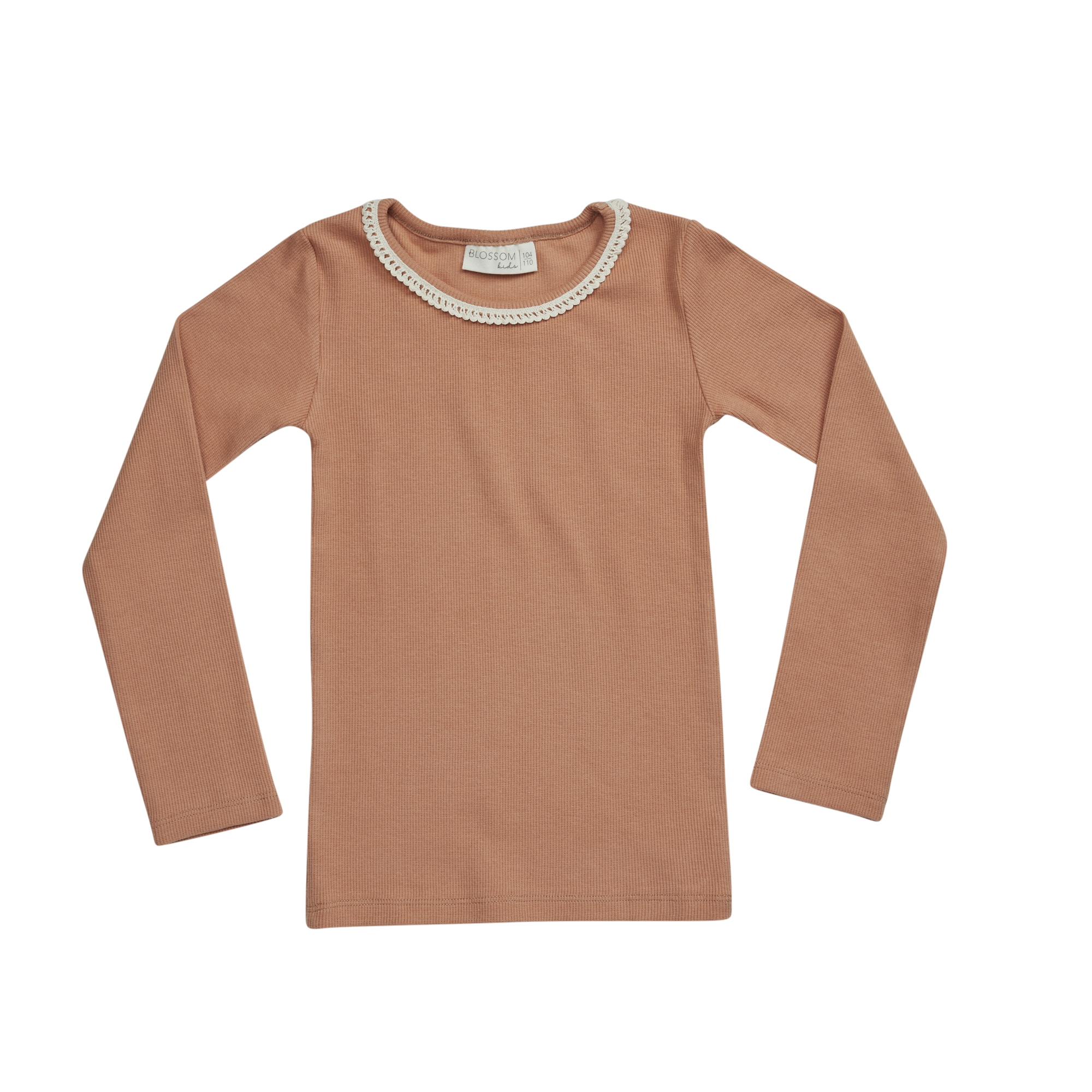 Blossom kids Long sleeve, rib with lace, Deep Toffee