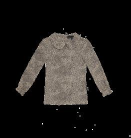 House of Jamie Rib Collar Tee | Charcoal little leopard