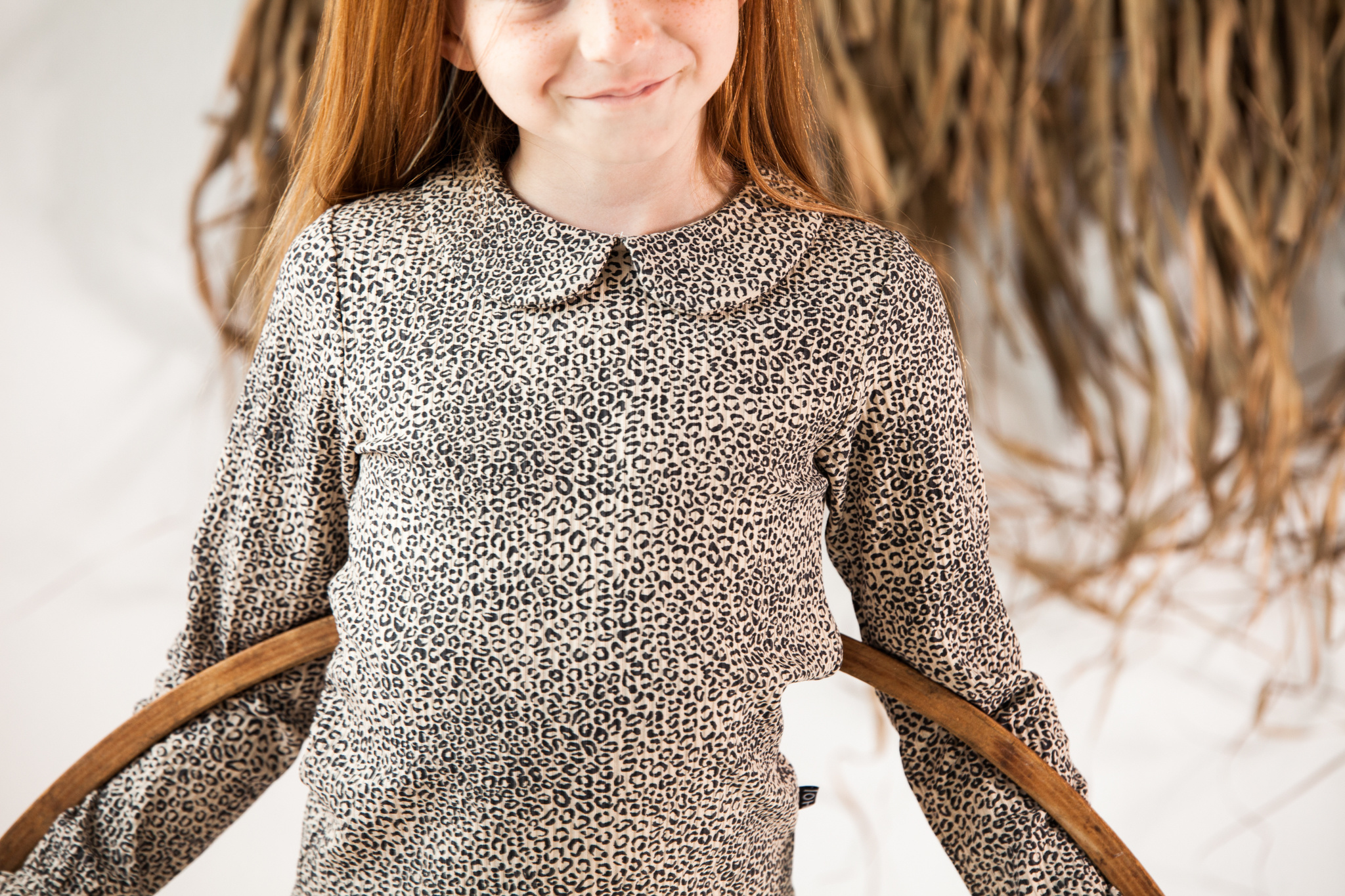 House of Jamie Rib Collar Tee   Charcoal little leopard