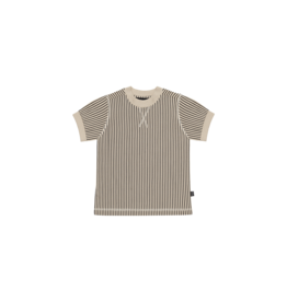 House of Jamie Crewneck Tee | Charcoal sheer stripes