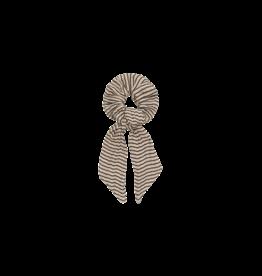 House of Jamie Ribbon Scrunchie | Charcoal sheer stripes
