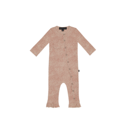 House of Jamie Rib Button Jumpsuit | Rose dawn little leopard