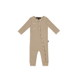 House of Jamie Rib Button Jumpsuit | Apple cider stripes