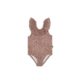House of Jamie Frill Swimsuit | Rose dawn leopard