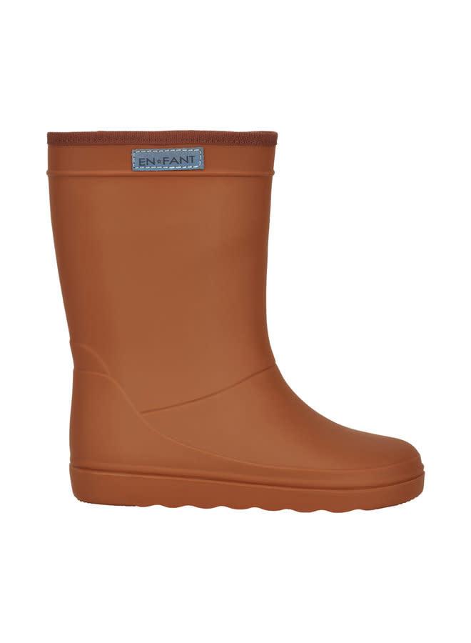 en'fant Rubber Rainboot Solid   Leather brown