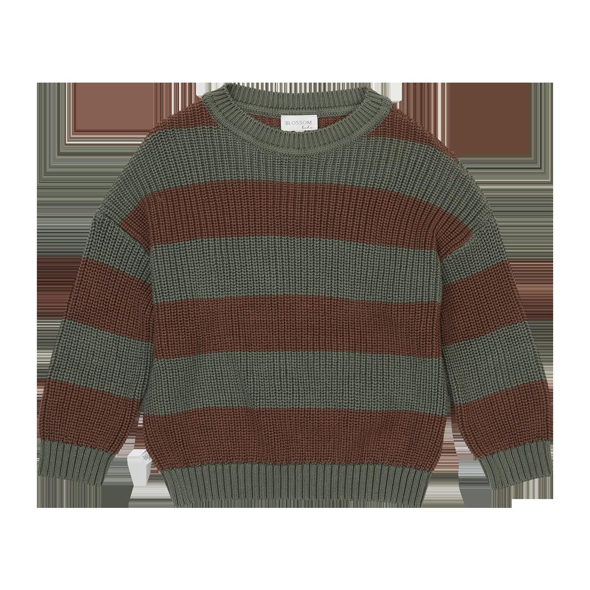 Blossom kids Knitted Jumper - Stripes - Forest Green