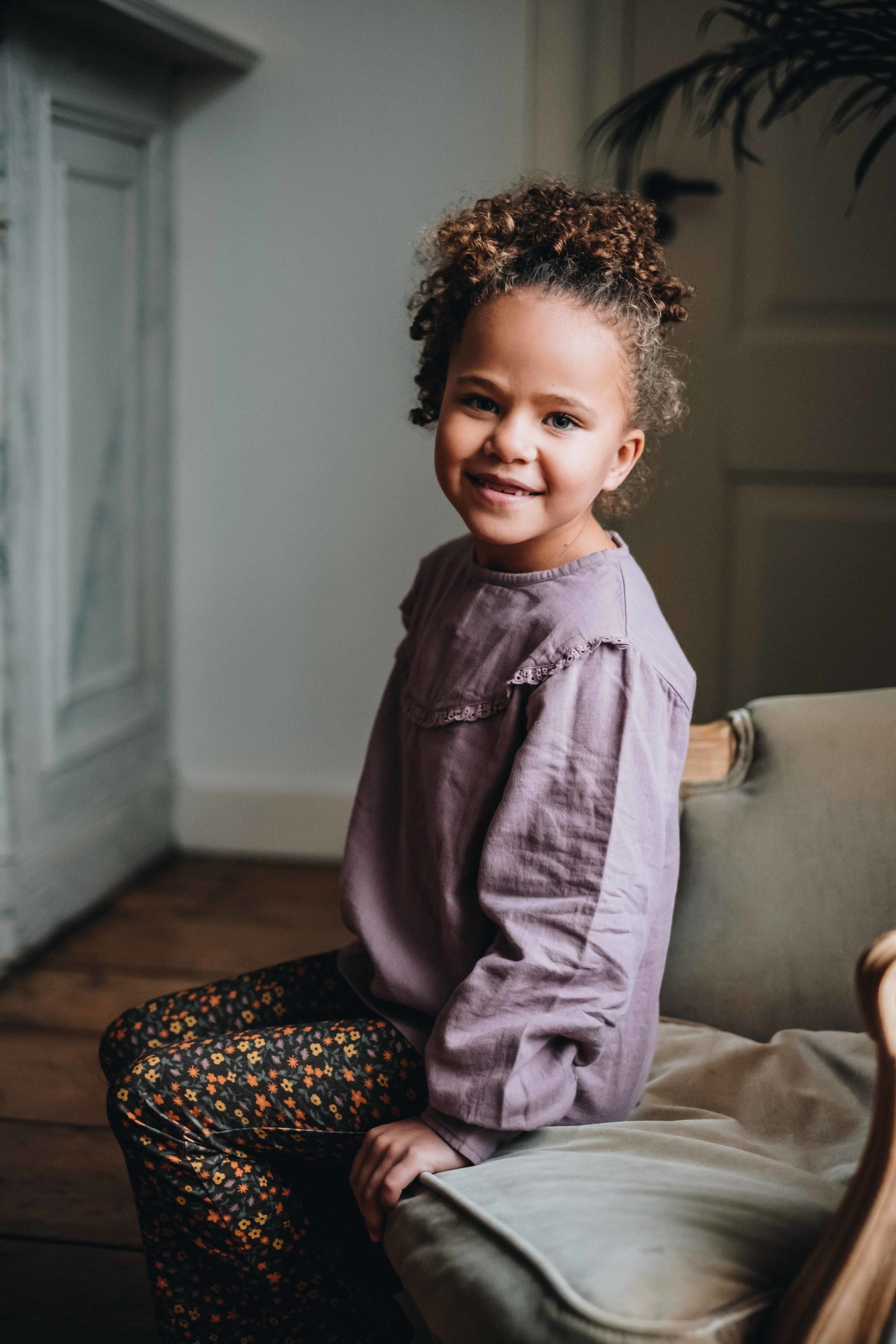 Blossom kids Blouse with lace - Dusty Violet