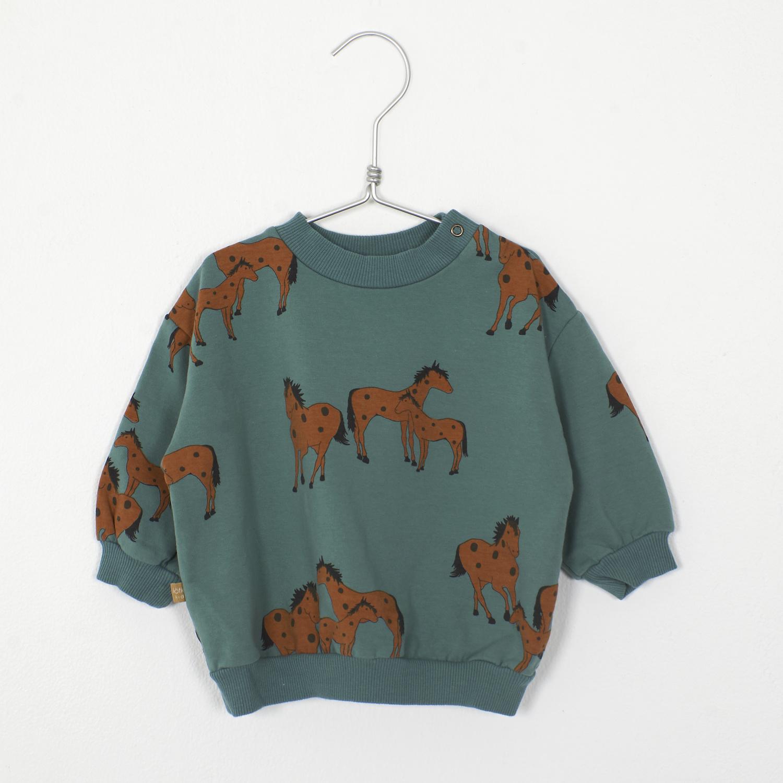 Lötie kids Baby Sweatshirt Horses | green